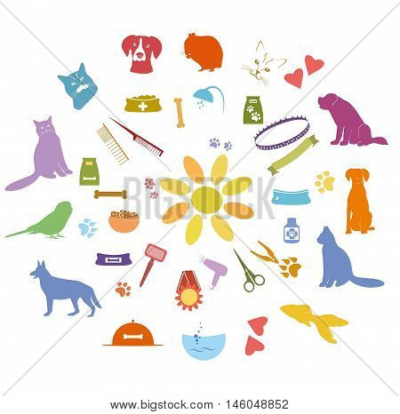 Vector set of  pet icons.  Pet grooming, care services color signs. Pets colorful elements for design.Vector illustration isolated on white background.