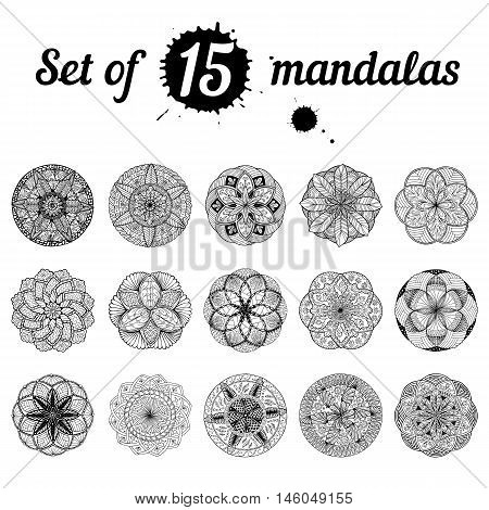 Ser of 15 hand drawn mandalas. Pattern for coloring book. Meditative anti-stress therapy yoga symbol. Vector.