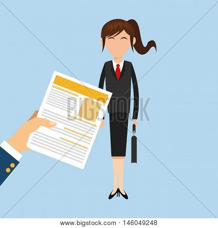 flat design business woman behind hand holding cv office related items vector illustration
