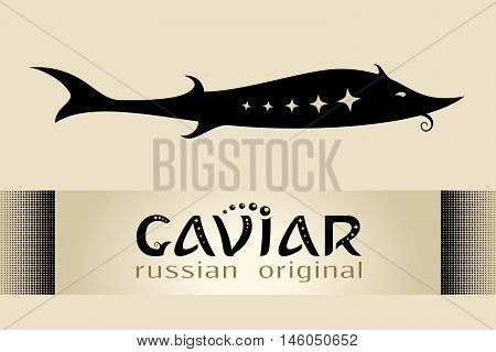 Caviar brand emblem to package sturgeon roe vector illustration