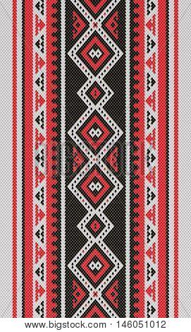 Red And Black Traditional Folk Sadu Arabian Hand Weaving Pattern