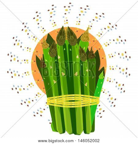 Vector image of asparagus. Tasty dish. Illustration