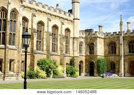 Courtyard of the Corpus Christi College, Is one of the ancient colleges in the University of Cambridge founded in 1352.