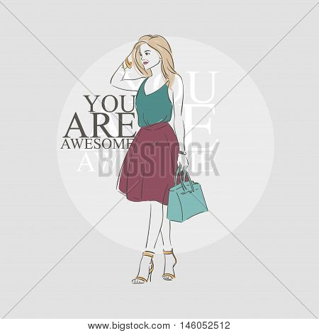 Beautiful Hipster Young Woman In A Green Blouse, Pink Midi Skirt With Bag On High Heels. Hand Drawn