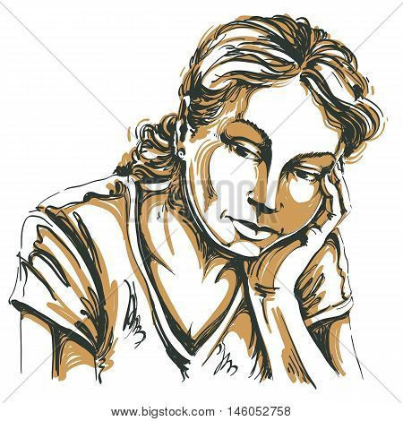 Vector art drawing portrait of sad and depressed girl thinking about something. Facial expressions people emotions romantic and tender young woman.