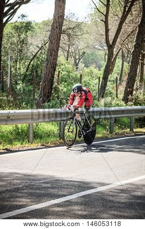 Grosseto, Italy - May 09, 2014: The cyclist without feet with the bike during the preparation to sporting event The 2014 IPC Athletics Grand Prix Italian Open Championships