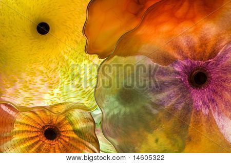 Coloured Glass In Abstract Flower Pattern