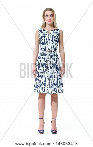blond woman with straight hair style in summer sleeveless dress high heel shoes going full body length isolated on white