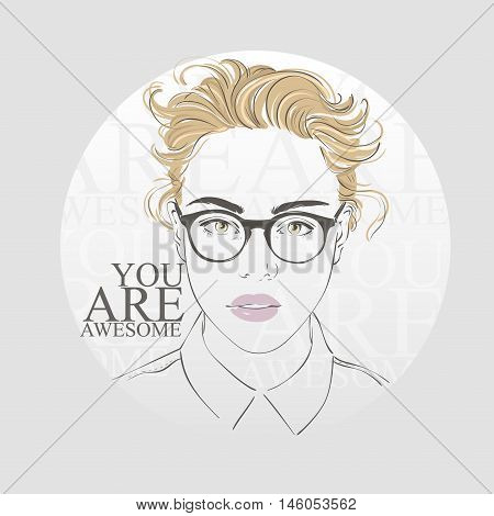 Beautiful Woman With Fashion Hipster Hairstyle And Make Up, With Vintage Glasses, Hand Drawn Line Ve