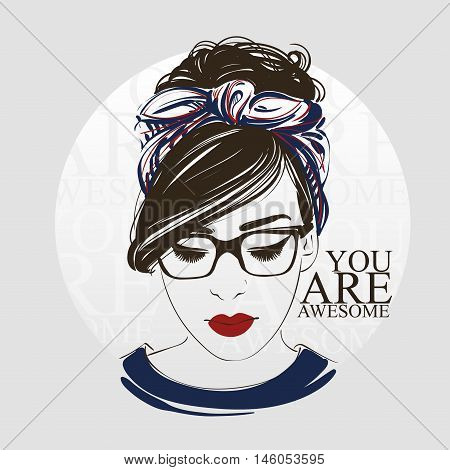 Beautiful Woman With Retro Hairstyle And Make Up, Headscarf, Hipster Glasses, Hand Drawn Line Vector