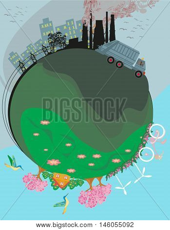 air polluting factory chimneys , vector illustration