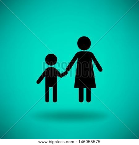 Flat icon family. Mother holds her son's hand.