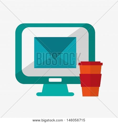 flat design computer monitor with disposable coffee cup and mesasge envelope office and telecommunication icons vector illustration