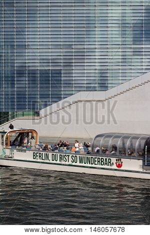Tourist Boat On River Spree In Berlin, Germany