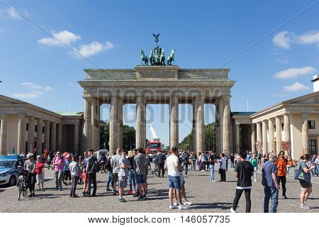 Berlin Germany - september 6 2016: Many tourist people in front of Brandenburger Tor in Berlin Germany.