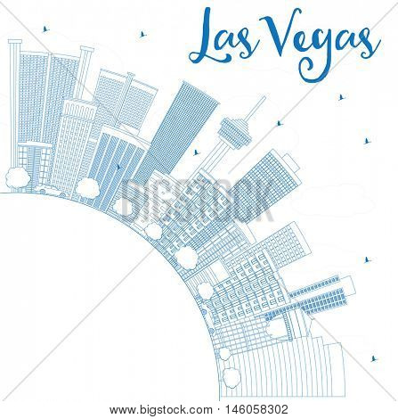 Outline Las Vegas Skyline with Blue Buildings and Copy Space. Vector Illustration. Business Travel and Tourism Concept . Image for Presentation Banner Placard and Web Site.