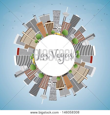 Las Vegas Skyline with Gray Buildings, Blue Sky and Copy Space. Vector Illustration. Business Travel and Tourism Concept. Image for Presentation Banner Placard and Web.