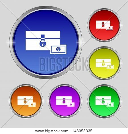 Chest Icon Sign. Round Symbol On Bright Colourful Buttons. Vector