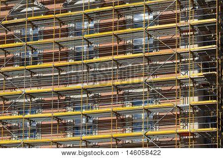 Scaffolding On Building Facade , Construction  Framework