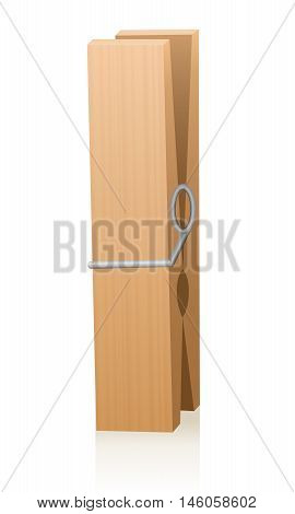 Wooden clothespin. Isolated vector illustration on white background.