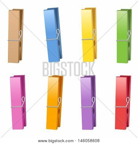 Clothespins - colorful collection. Isolated vector illustration on white background.