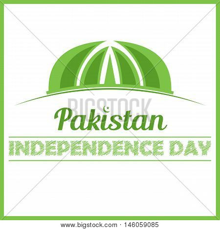 Pakistan monument independence day vector card design