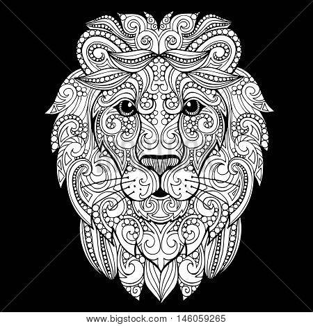 Hand drawn doodle ornate lion illustration. Decorative ornate vector lion head drawing
