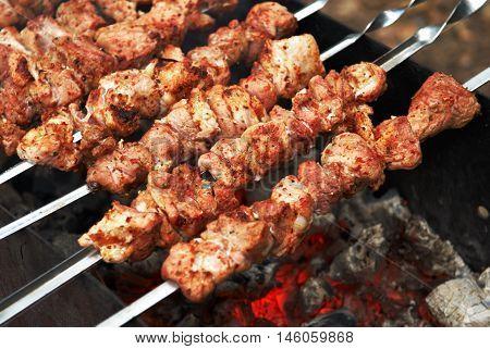Pork on grill. Grilled pork on coal. Kebab