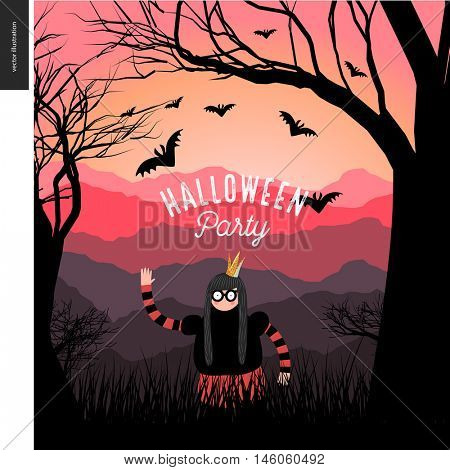 Halloween Party illustrated poster. Vector cartoon illustration of a forest landscape with a girl wearing a halloween costume with a crown, and flying bats, a black tree on foreground and sunset