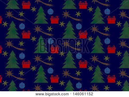 Christmas seamless polka dots pattern with tree, christmas comets, stars and gifts. Pattern with christmas motifs on a dark blue background