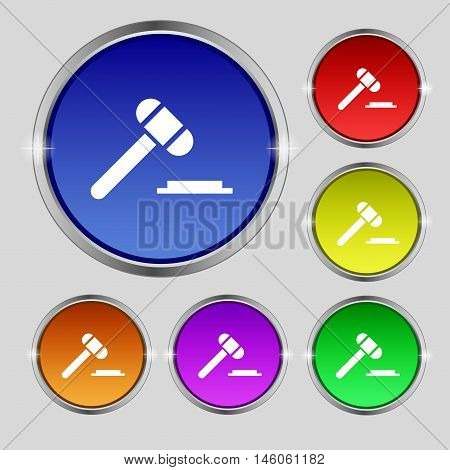 Judge Or Auction Hammer Icon Sign. Round Symbol On Bright Colourful Buttons. Vector
