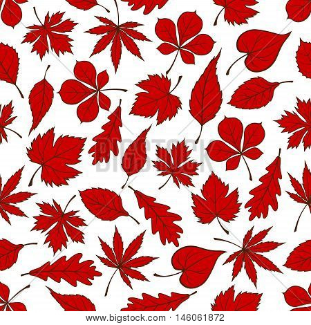 Red autumnal fallen leaves seamless pattern on white background with foliage of oak, maple, chestnut, birch, grape, beech and elm trees. Nature theme or autumn season design