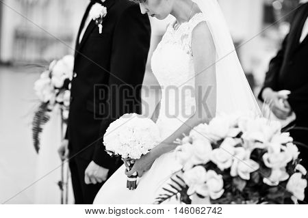 Black And White Portrait Of Wedding Couple At Church