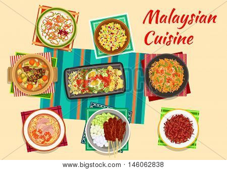 Malaysian cuisine icon with vegetable and egg salad, meat skewers satay with peanut sauce, pineapple and cucumber salad, beef ribs soup, fried rice with shrimps, crispy beef and rice porridge