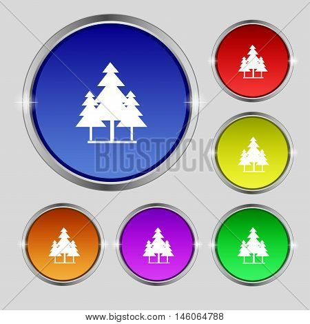 Christmas Tree Icon Sign. Round Symbol On Bright Colourful Buttons. Vector