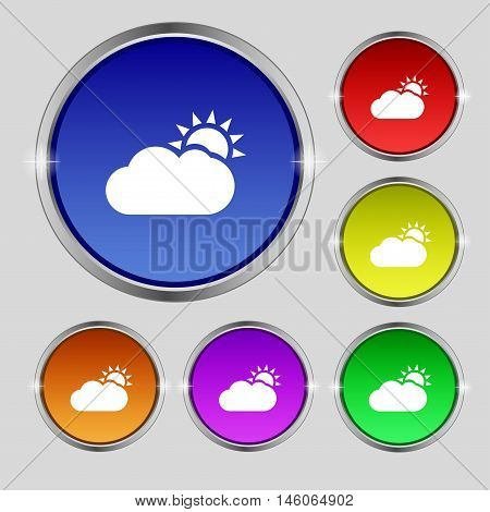 Partly Cloudy Icon Sign. Round Symbol On Bright Colourful Buttons. Vector