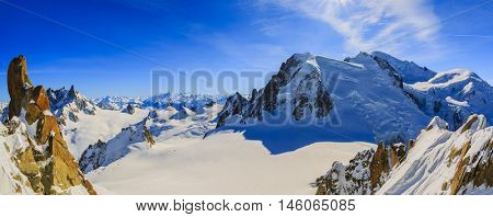 Panorama of Mont Blanc and Chamonix, view from Aiguille du Midi