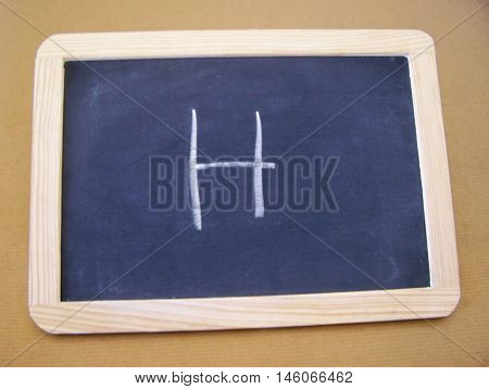 Slate used by students in the preparatory work - letter H