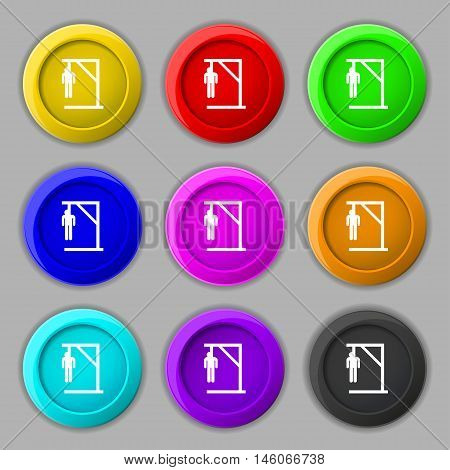 Suicide Concept Icon Sign. Symbol On Nine Round Colourful Buttons. Vector