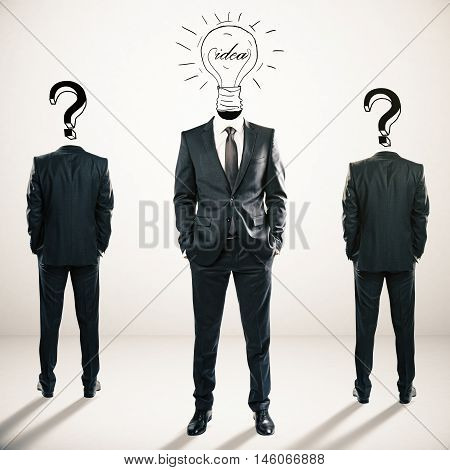 Two question mark headed businessmen behind light bulb headed man on light background. Idea and leadership concept