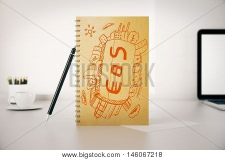 Spiral notepad with dollar and euro suitcase pen laptop and other items on white desk. Financial growth concept. 3D Rendering