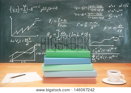 Closeup of wooden desk with pile of book coffee cup glasses and other items on chalkboard with mathematical formulas background. Education concept. 3D Rendering