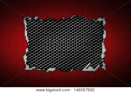 red and white carbon fiber tear on the black metallic mesh. background and texture. 3d illustration.