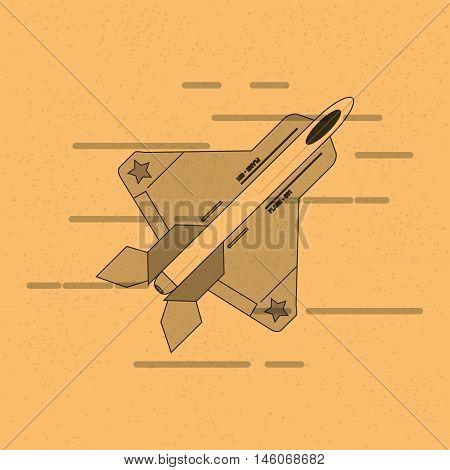 flat design single fighter jet vector illustration