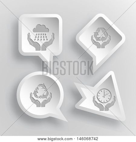 4 images: weather in hands, protection nature, protection sea life, clock in hands. In hands set. Paper stickers. Vector illustration icons.