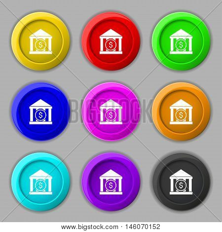 Bank Vector Icon Sign. Symbol On Nine Round Colourful Buttons. Vector
