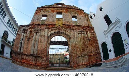Ciudad de Panama, Panama / Panama - December 15 2014: Church and convent of Santo Domingo were constructed in the 17th century. The church was never rebuilt after a fire that destroyed them in 1756.