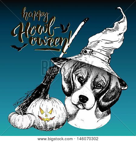 Vector greeting card for Halloween. Beagle dog wearing the witch hat. Broom and pumpkin lanterns. Decorated with lettering Happy Howl-oween and bats. Hand drawn.
