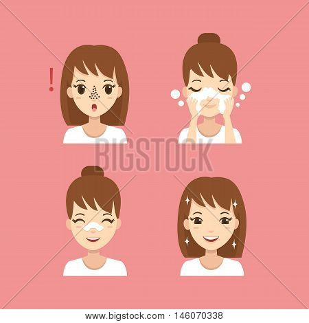 Girl take care of her face. Blackheads treatment procedure. Vector illustration.