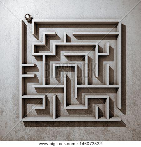 Square maze top view. 3D illustration.